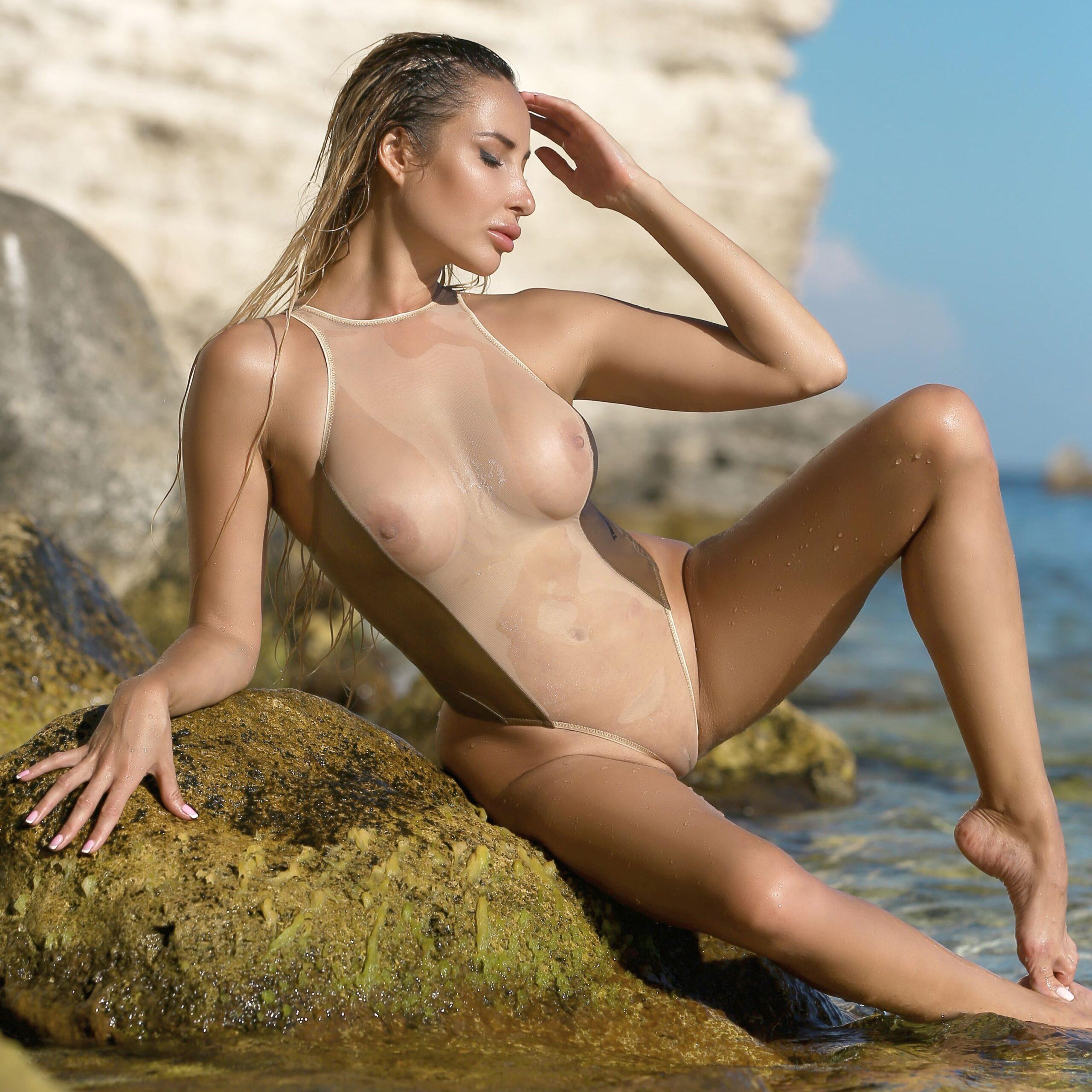 Hot see through one piece thong swimsuit. Cheeky sheer women high neck bodysuit. Sexy high cut leg monokini. Cute high waisted bathing suits.