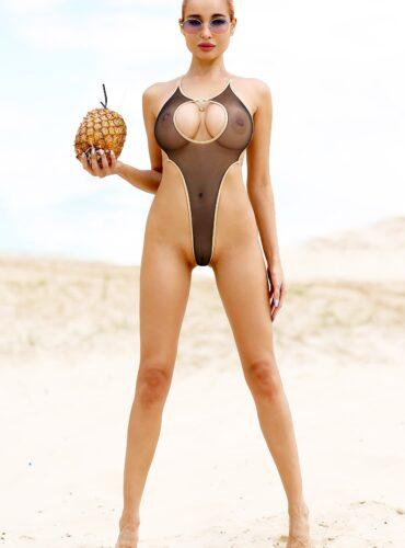 Sexy see through one piece thong swimsuit monokini. Sheer mesh black bodysuit. Hot extreme bathing suit. Exotic women designer swimwear.