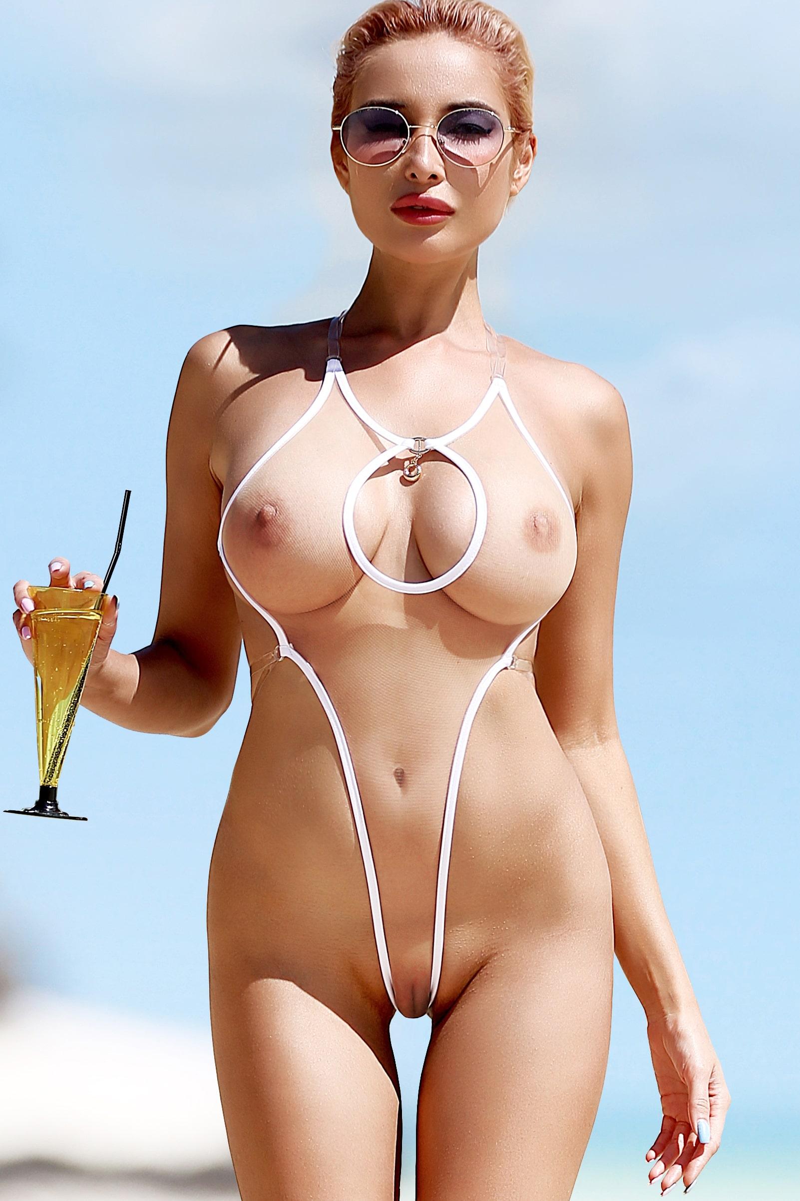 Sexy see through one piece thong swimsuit monokini. Hot sheer nude mesh bodysuit. Cheeky high cut leg women swimwear. High waist lingerie.