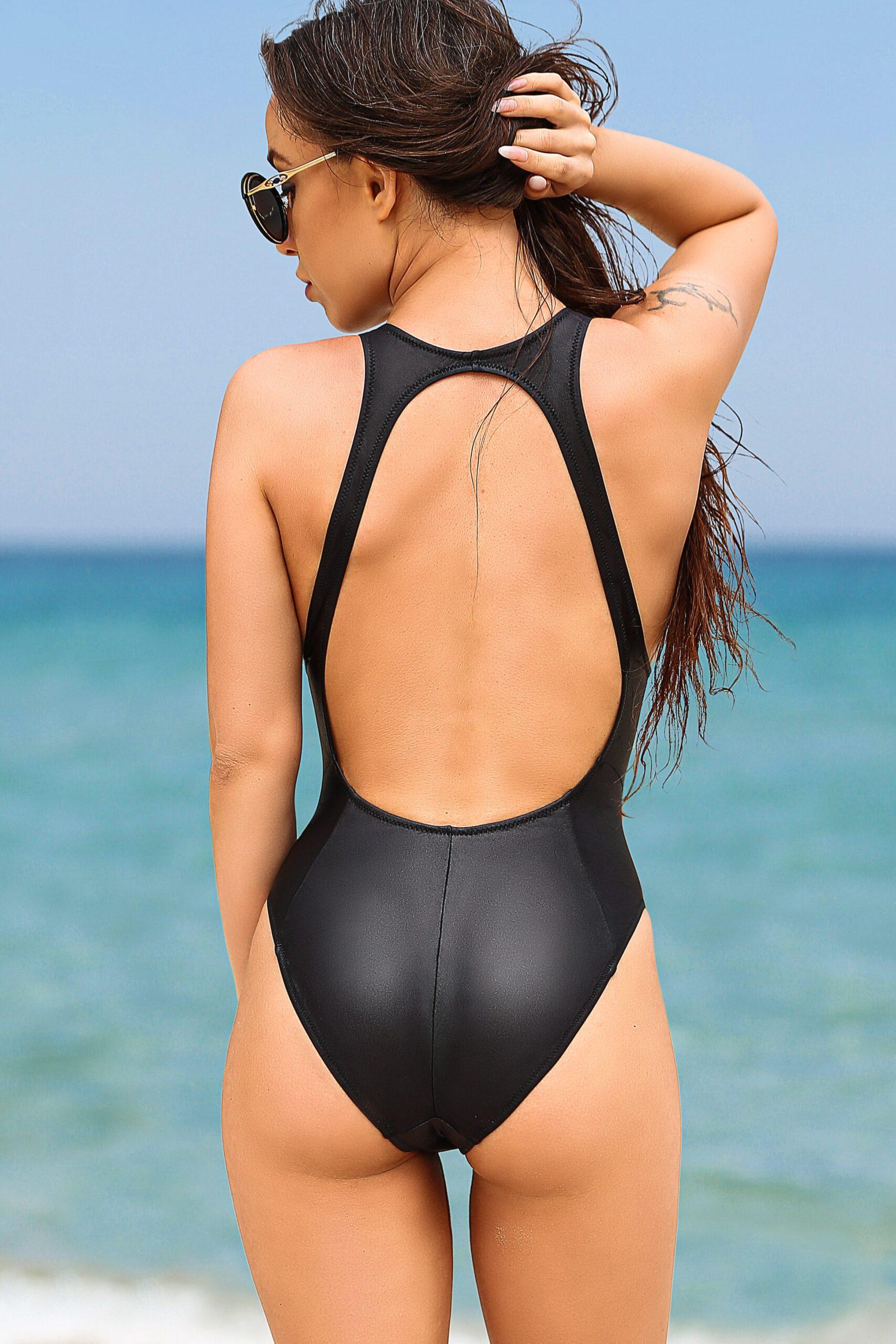 Sexy high cut leg one piece swimsuit. Hot black rave bodysuit. High waist designer womens rio swimwear. Cheeky extreme brazilian monokini.