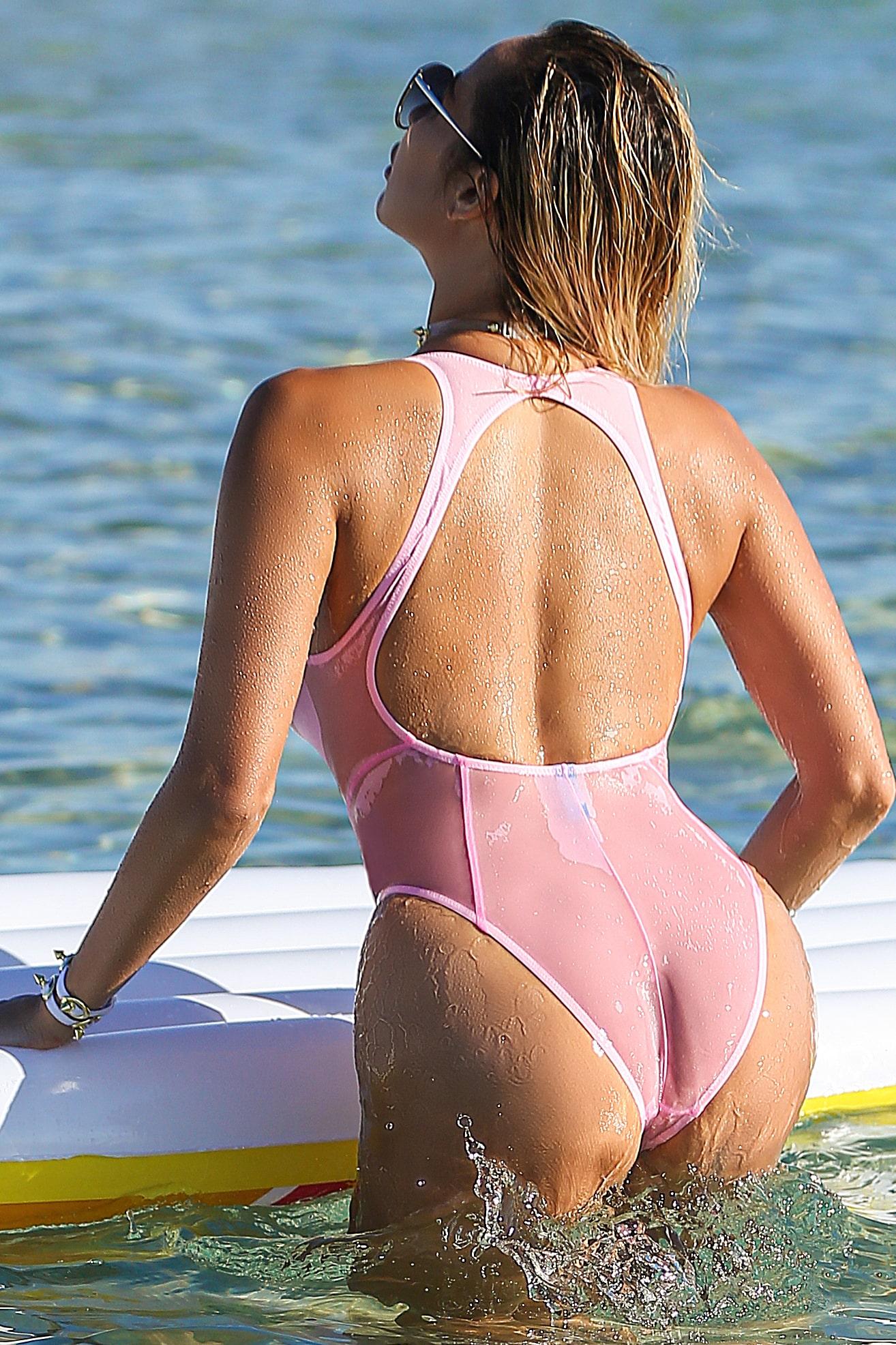 Sheer when wet one piece pink swimsuit. Cute women rave bodysuit. Sexy see through high waist designer swimwear. Hot high cut leg monokini.