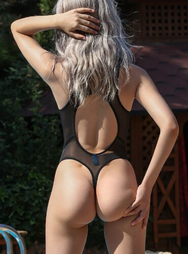 Hot see through one piece thong swimsuit. Sexy black mesh rave bodysuit monokini. High cut leg bathing suit. Cheeky sheer womens swimwear.