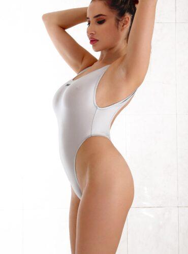 Sexy hot sheer one piece swimsuit thong. Erotic see through high cut leg bodysuit. Cute extreme monokini. Designer cheeky women swimwear.