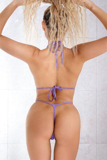 Hot extreme micro bikini bottom set and top. Sexy thong two piece swimsuit. Cute high cut leg designer womens swimwear. Cheeky mini panties.