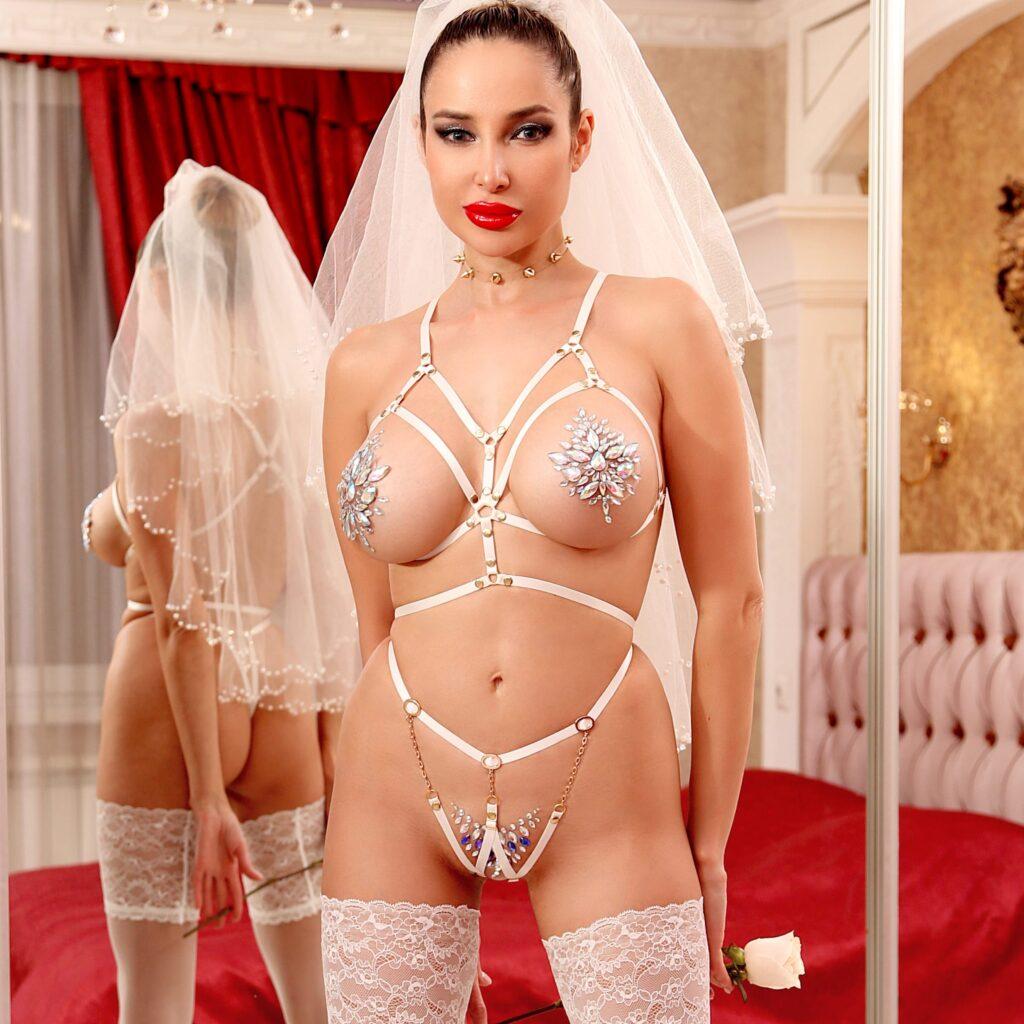 Sexy slutty wedding open lingerie erotic top. Bondage body harness bra. Strappy clothes. Kinky outfits. Stripper wear. Bridal garter belt.