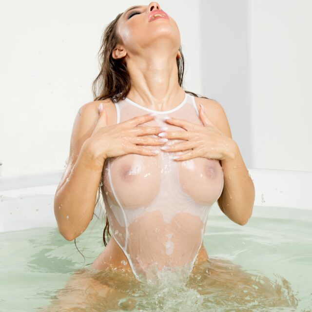 Sexy sheer one piece mesh swimsuit thong. Cute see through high neck rave bodysuit. Hot women white swimwear. Extreme high cut leg monokini.
