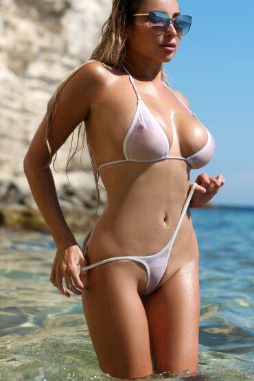 Cheeky hot sheer micro bikini bottom set. Extreme sexy thong panties and top. See through high cut leg swimsuit. Cute erotic women swimwear.