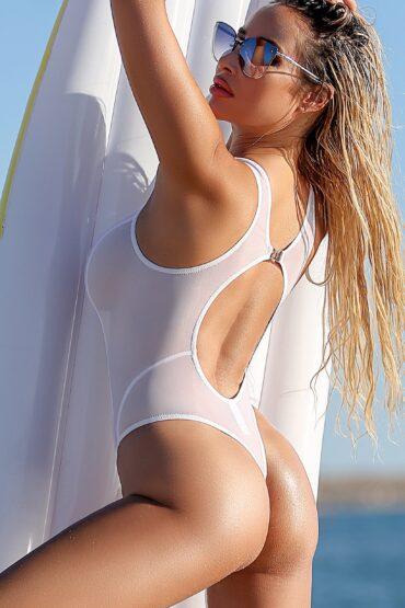 Sexy cute sheer one piece thong swimsuit. See through high cut leg mesh rave bodysuit. High neck women swimwear monokini. White bathing suit
