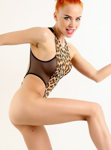 Hot high neck see through thong swimsuit. Sexy sheer when wet high cut leg bodysuit. Extreme black leopard monokini. Mesh women swimwear.