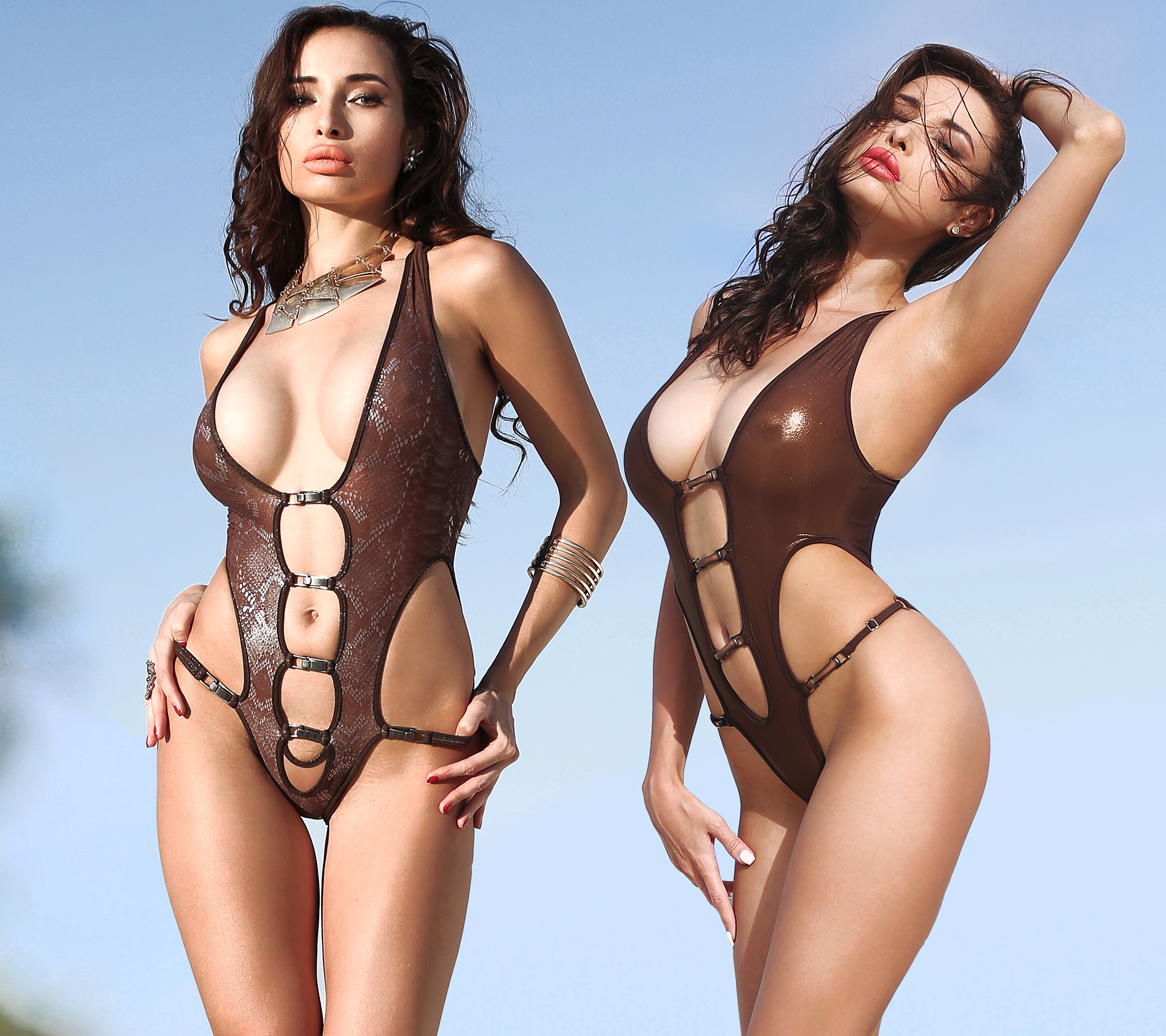 Hot see through one piece thong swimsuit. Sexy sheer High cut bronze rave bodysuit.