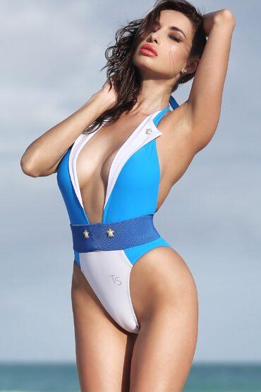 Sexy high waist one piece thong swimsuit Cute bathing suit High cut leg monokini Women's swimwear Vintage cheeky bodysuit Plunging neckline