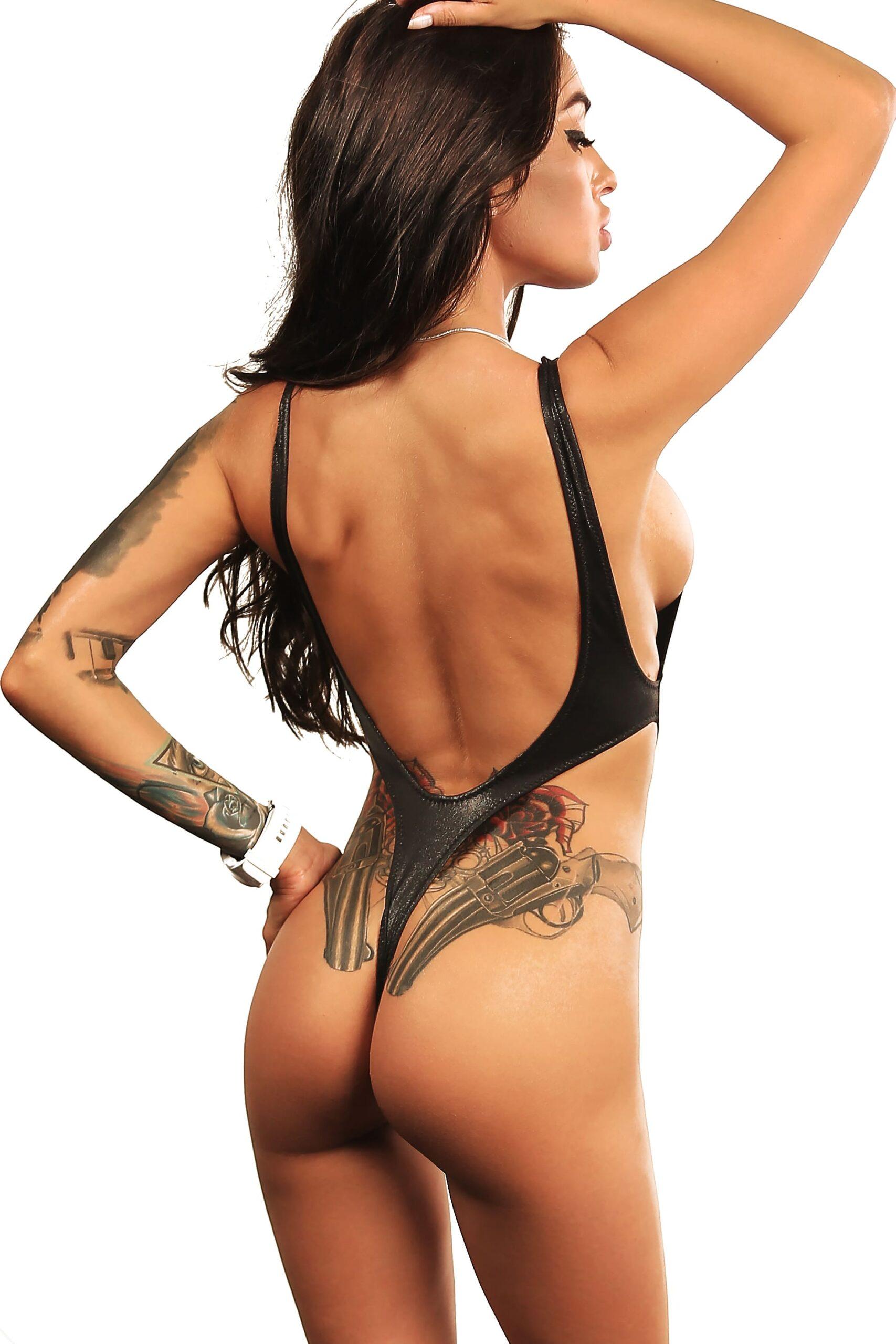 Sexy tummy cut one piece thong swimsuit monokini. Hot cheeky high cut leg bodysuit. Extreme stripper outfits. Cute designer women swimwear.