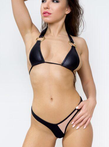 Sexy sheer thong mini bikini See through high cut leg bottom and bra set. Hot mesh cheeky string panties + top. Neon black color