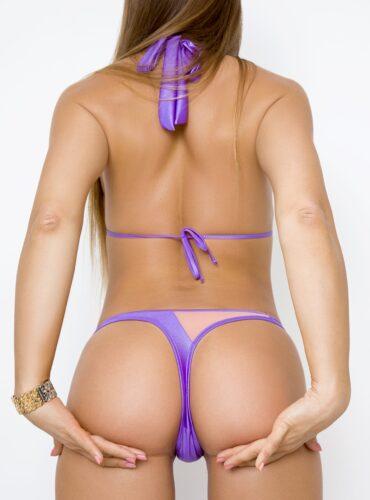 Cheeky purple panties and top swimsuit. Hot sexy brazilian mini bikini High cut leg bottom and bra set. Cute designer women swimwear.