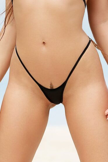 Sexy hot open thong crotchless panties. Extreme micro bikini bottom. Erotic black strappy lingerie underwear. Cheeky mini two piece swimsuit.