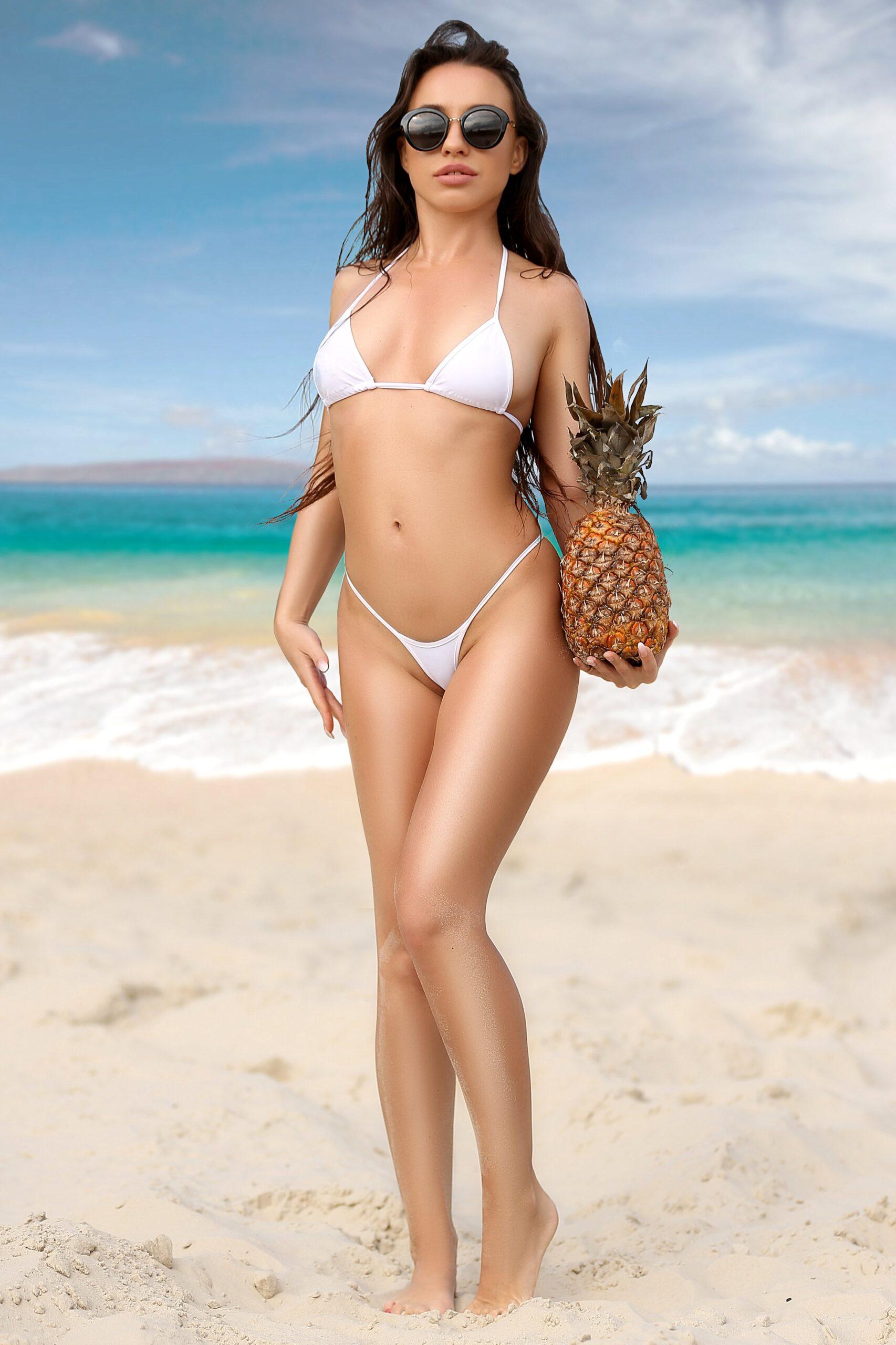 Sexy hot micro open thong crotchless panties. Erotic lingerie underwear. Extreme mini white bikini bottom + top. Cheeky two piece swimwear.