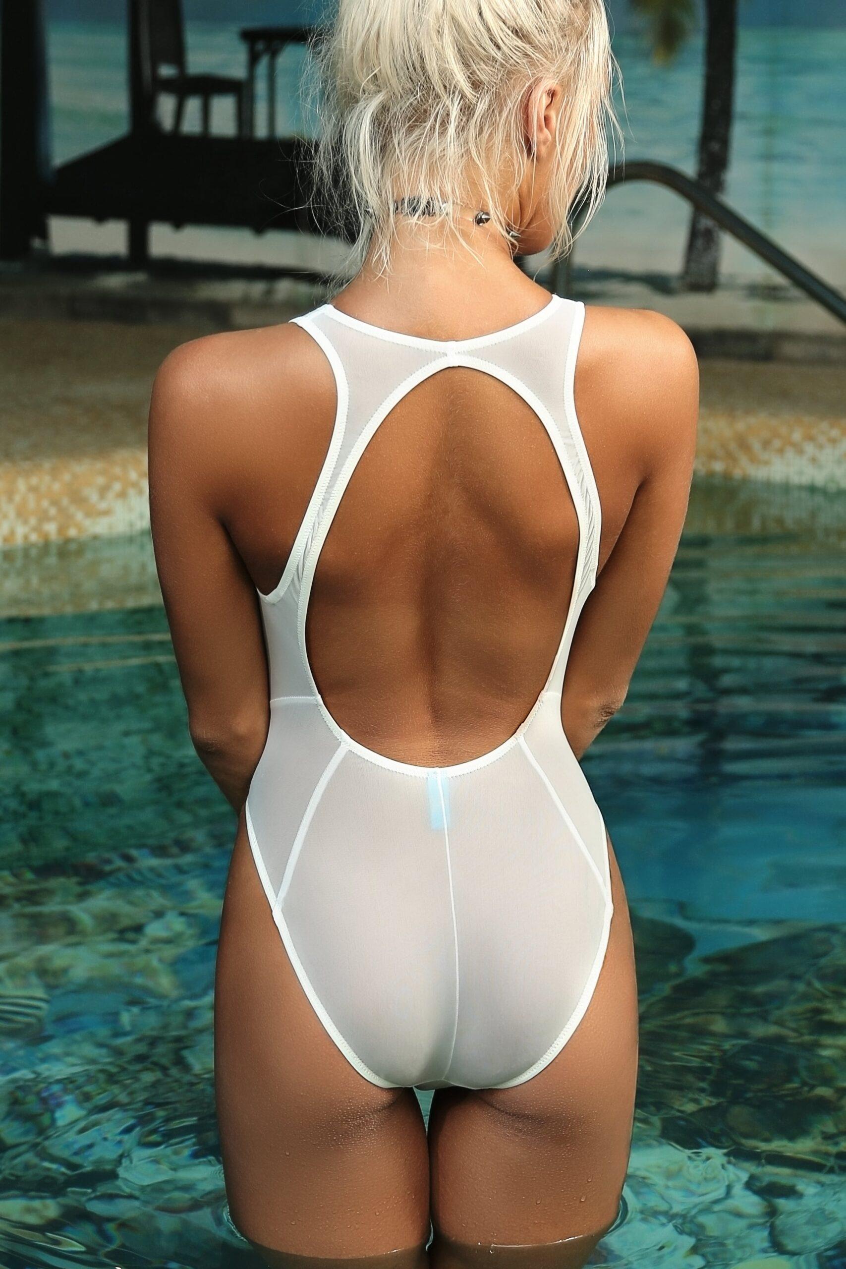 Sexy cute see through one piece swimsuit. Hot mesh high cut leg sheer when wet bodysuit monokini. Extreme high waist women white swimwear.