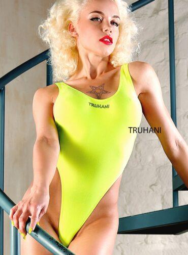 Hot sexy cheeky one piece thong swimsuit monokini. Extreme women uncut string swimwear. Neon high cut leg rave bodysuit. Cute bathing suits.