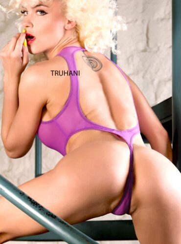 Hot see through one piece thong swimsuit monokini. Sexy cheeky sheer high cut leg rave bodysuit. Cute purple extreme designer women swimwear