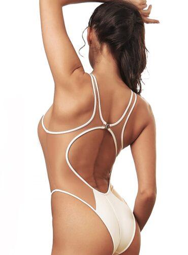 Fashion White One Piece Swimsuit Bodysuit Bathing Suit Monokini Transparent Mesh Side Hot Brazilian High Cut Leg Sexy Cute Women's Swimwear