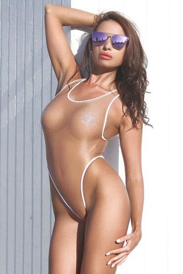 Sexy see through one piece thong swimsuit. Hot sheer mesh bodysuit. Women swimwear monokini. Erotic fetish underwear lingerie. Bathing suit.
