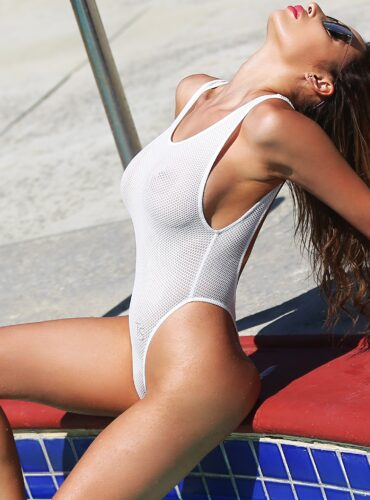 Sexy sheer one piece white swimsuit thong. Cute see trough women swimwear. High cut leg rave designer bodysuit. Hot extreme monokini.