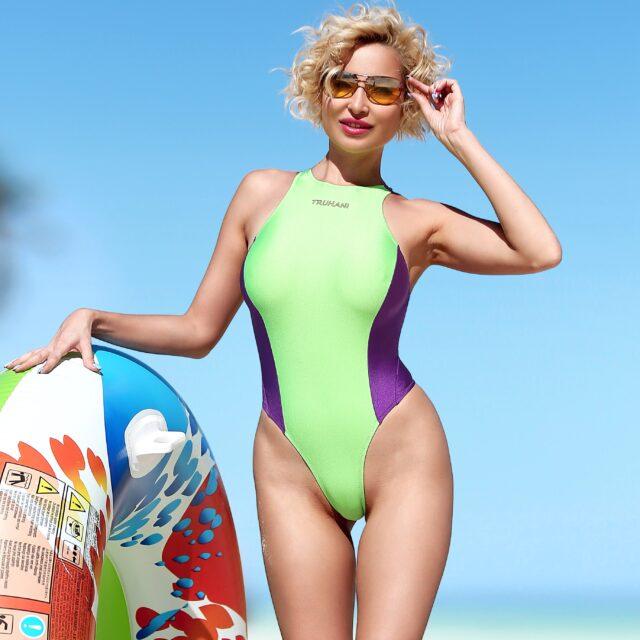 Sexy one piece thong swimsuit High neck bathing suit Cute monokini Sport high cut leg snake bodysuit Womens swimwear