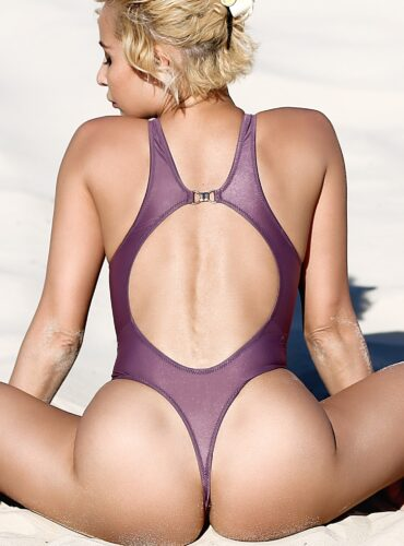 Sexy sheer swimsuit Thong monokini Mesh purple transparent bodysuit High cut leg extreme one piece bathing suit Cute See through high neck