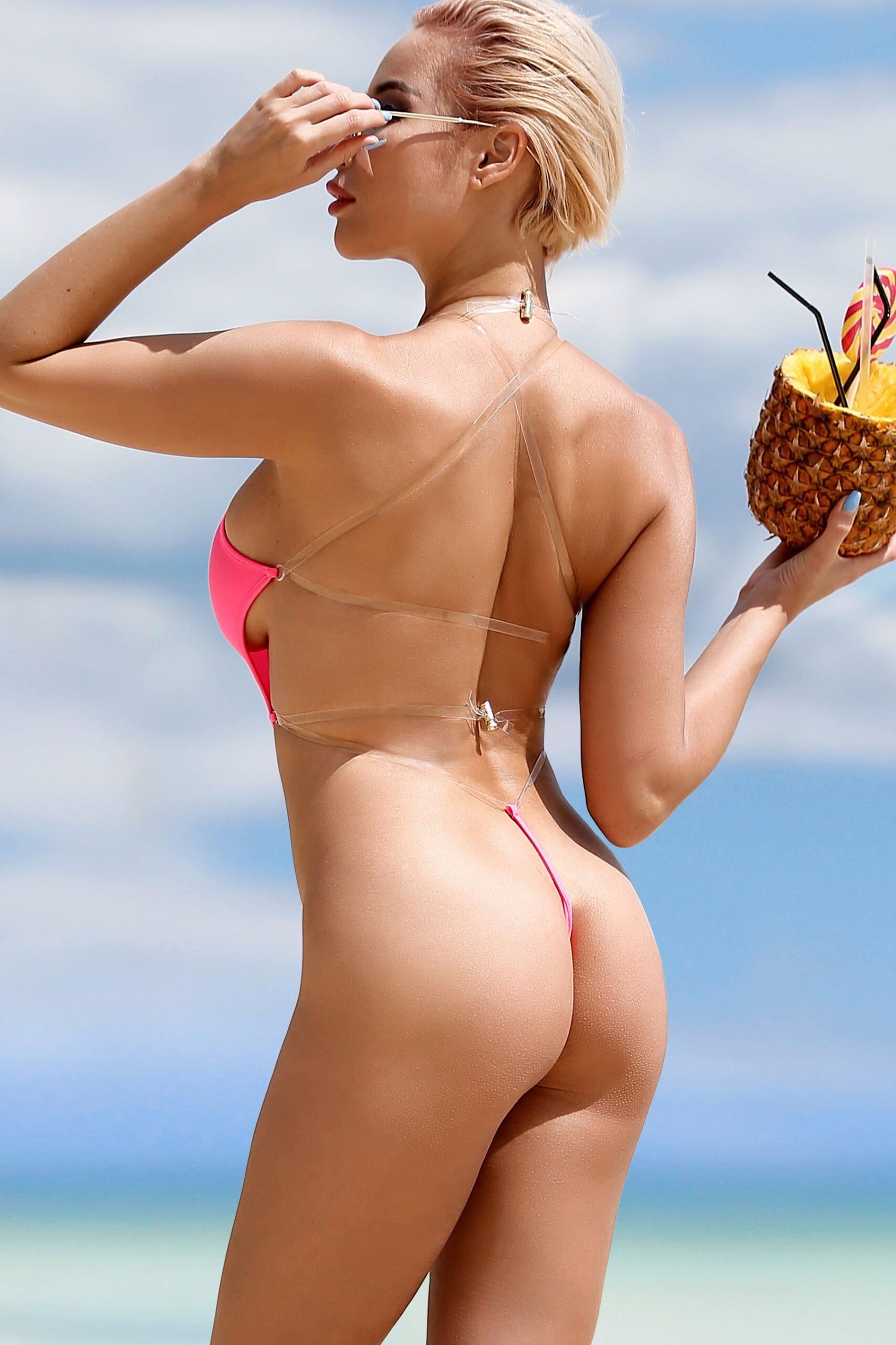 Pink One Piece Swimsuit Bodysuit Monokini Swimwear Hot Sport High Neck Cut Leg Open Back Bathing Suit Beauty Sexy Belt Cute Women's