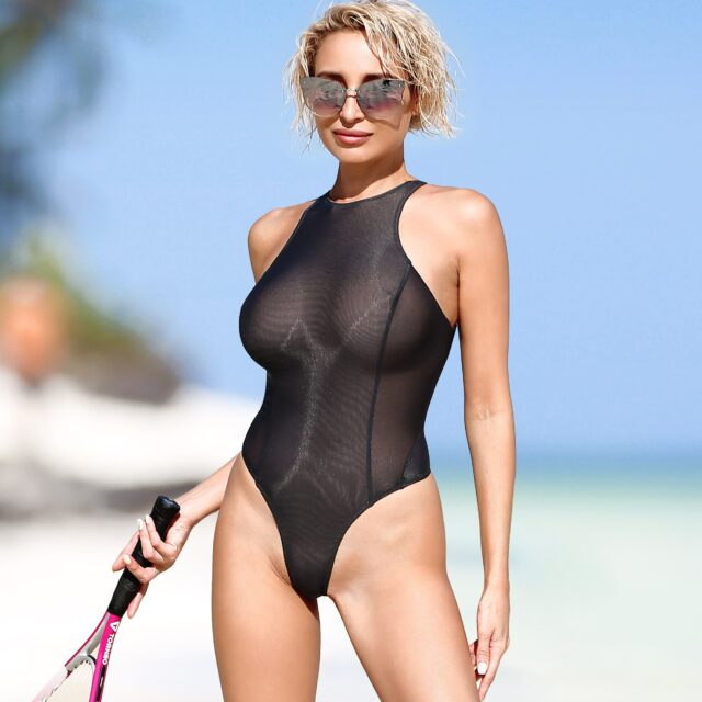 Sexy sheer swimsuit Thong monokini Mesh black see through high neck bodysuit Cute high cut leg transparent one piece bathing suit