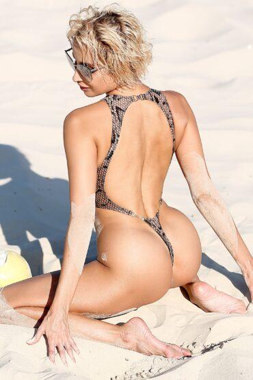 Sexy See through lingerie Sheer swimsuit Erotic one piece thong bathing suits Extreme cut leg bodysuit High neck snake print mesh monokini