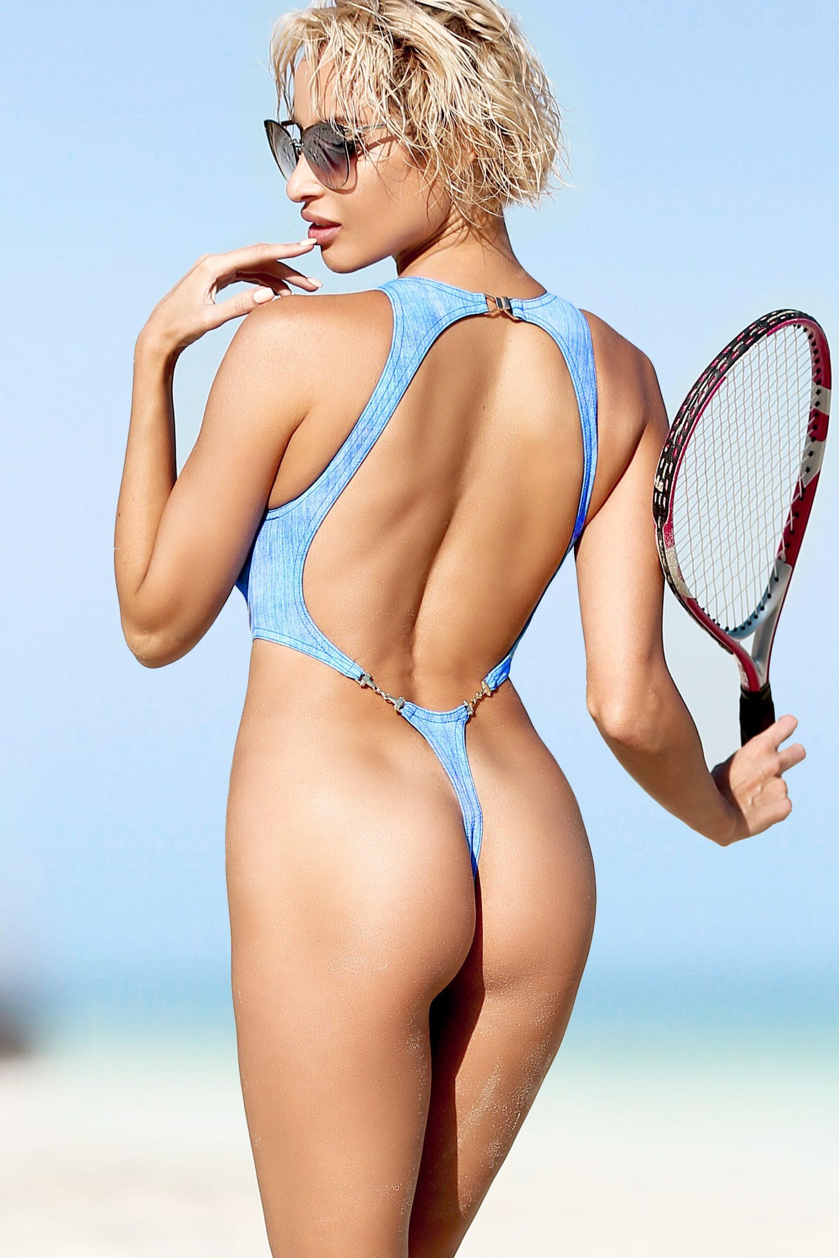 Sexy thong one piece swimsuit High neck bathing suit Extreme cut leg monokini Denim print bodysuit Designer swimwear Exotic dancewear 2020