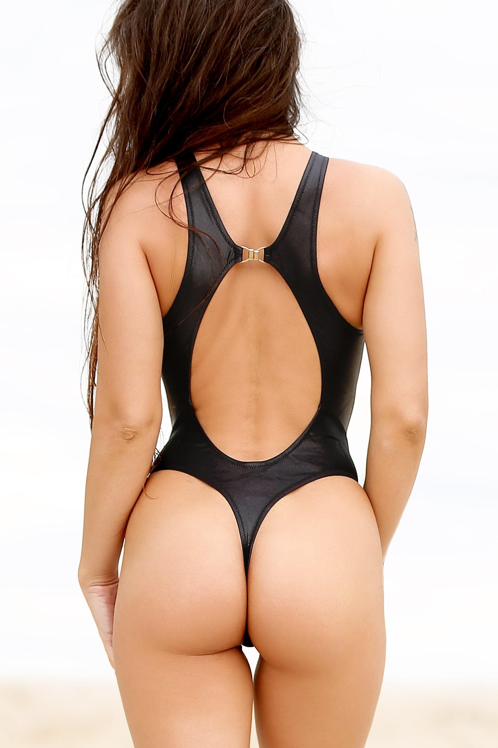 Sexy one piece thong swimsuit monokini. Hot High cut leg rave bodysuit. Cute sport high neck women black swimwear. Extreme bathing suit.