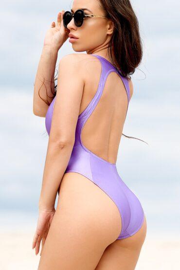 Sexy high waisted bathing suit One piece brazilian high neck swimsuit Cute purple high cut leg monokini Hot erotic neckline Women swimwear
