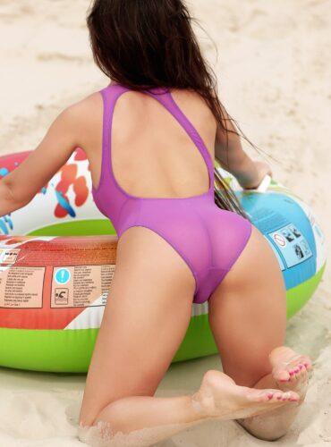 Cute see through swimsuit Sheer monokini Sexy high waist one piece bathing suit Purple high cut leg bodysuit Designer erotic women swimwear