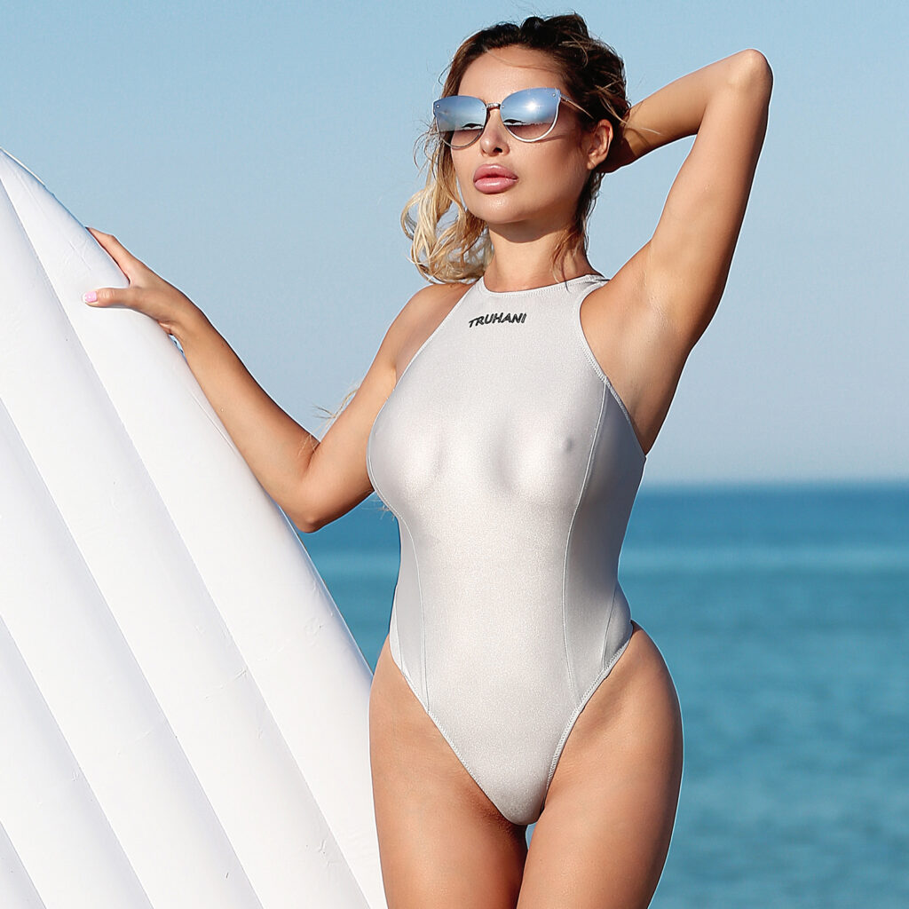 Hot see through one piece swimsuit thong. Sexy women high cut leg swimwear monokini. Sheer high neck pink bodysuit. Cheeky cute bathing suit
