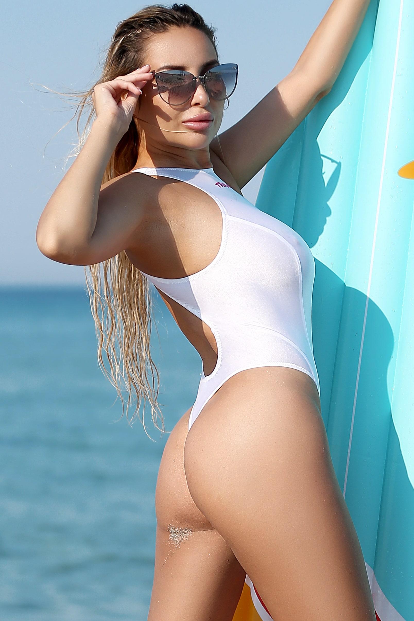 Sexy see through monokini thong swimsuit Cute sheer high neck one piece bathing suit Erotic white high leg bodysuit Designer womens swimwear