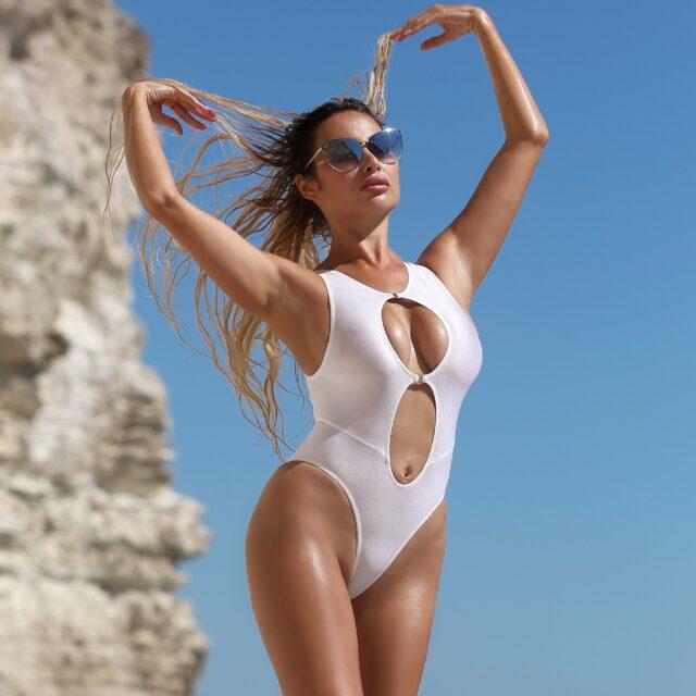 Sexy сute sheer white one piece swimsuit Hot see through high cut leg bodysuit woman Cheeky erotic extreme monokini Designer bride swimwear
