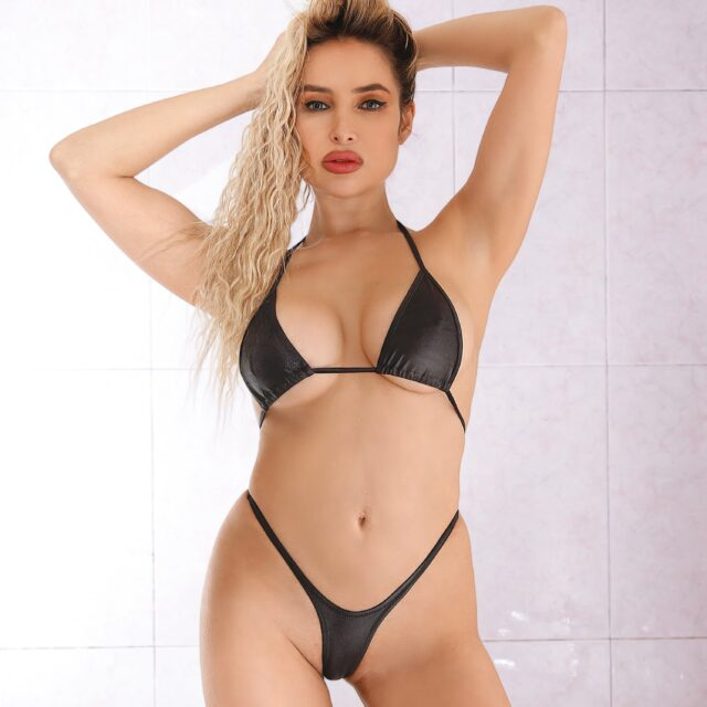 Extreme micro thong bikini bottom set and bra. Sexy high cut leg black two piece swimsuit. Cute womens lingerie Hot cheeky string panties.